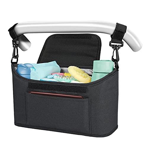 Yoofoss Kinderwagen Organizer Kinderwagentasche Multifunktionale und Praktische Aufbewahrungstasche Buggy Organizer Wickeltasche 33x11x17 cm-schwarz
