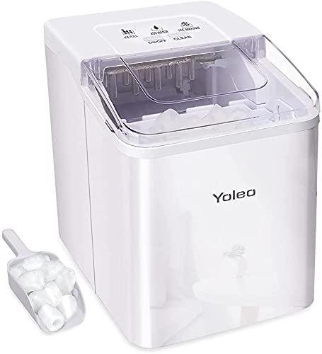 YOLEO Eiswürfelmaschine, leise Ice Maker 9 Eiswürfel in 8 Minuten, 12kg /24 Stunden, Selbstreinigungsfunktion, Einfache Bedienung, Weiß