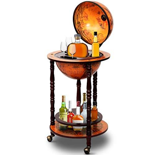 GOPLUS Globus Bar Barwagen, Globusbar Weltkugel, Minibar Globus, Weltkugel bar Globus,Weinregal, Hausbar, Flaschenregal, Dekobar, Cocktailbarmit Rollen, 88 x 45 cm