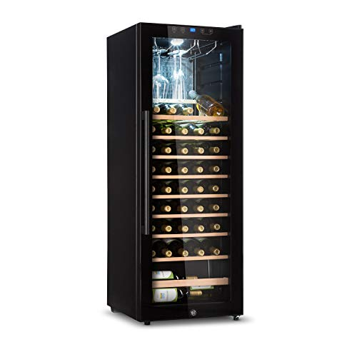 Klarstein Barossa - Weinkühlschrank mit Glastür, Weinkühler, Weintemperierschrank, 5 bis 18°C, leise, LED, Touch, Türanschlag beidseitig, höhenverstellbar, 2 Zonen, 54 Flaschen, schwarz