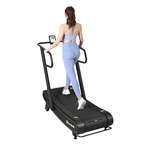 Microink Curved Laufband, Heimlaufband mit LCD-Display, Nicht motorisiertes Laufband mit 8-stufig einstellbarem Widerstand für Gehen, Laufen, HIIT-Training, Sprints