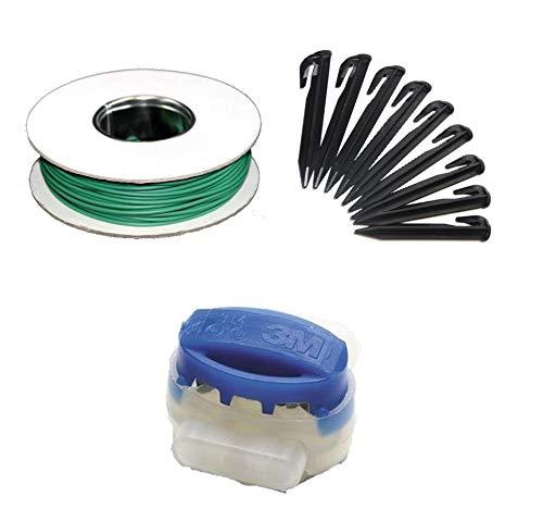 G greengrass tools Mähroboter Kabel Reparatur Set + Haken Verbinder für Rasenroboter Begrenzungs-Draht Erdnägel Klemmen - kompatibel mit Husqvarna Automower Gardena Worx Yard Force, Set:10m+20H+6V