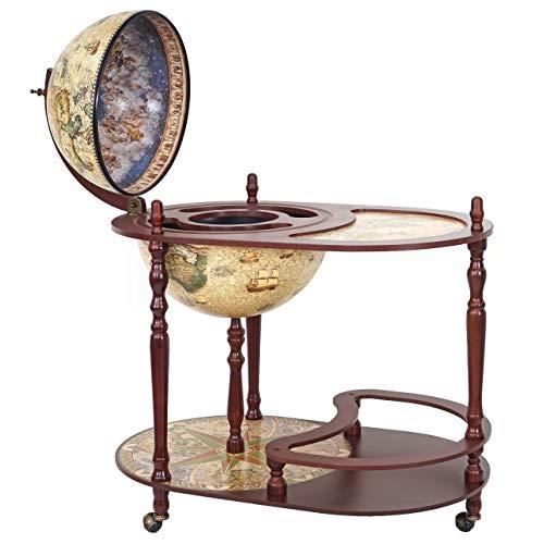 Globusbar mit Tisch HWC-D84, Minibar Hausbar Tischbar, Weltkugel Ø 42cm rollbar Eukalyptusholz