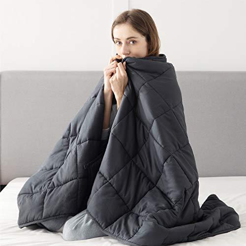 BEDSURE Therapiedecken Gewichtsdecken Erwachsene, beschwerte Decke Gewicht Bettdecke ca. 7 kg, Weighted Blanket Adult 150x200 cm Schlafdecke schwer 100% Baumwolle mit Glasperlen Gewichtdecke