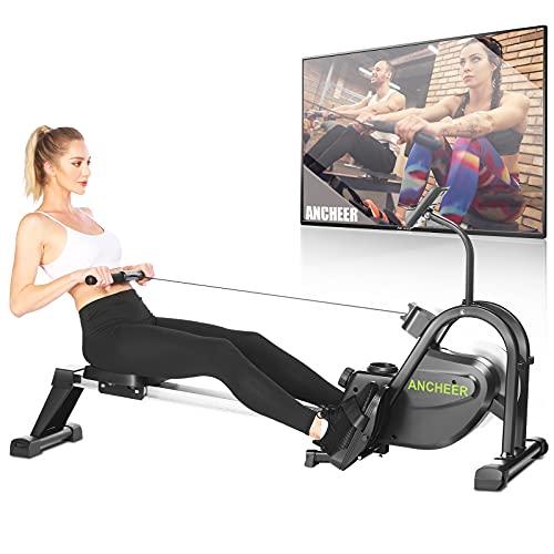 ANCHEER Rudergeräte für zuhause, F103A Rudergerät mit leises & Tablet-Halterung, Rower mit Multifunktions 10 Stufen Widerstandsverstellung für Fitness zu Hause