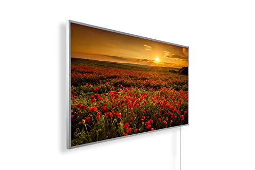 Könighaus Fern Infrarotheizung – Bildheizung in HD Qualität mit TÜV/GS - 200+ Bilder - 1000 Watt (48. Sonnenuntergang Klatschmoon Feld)