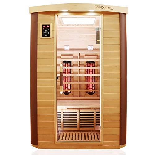Dewello Infrarotkabine TORONTO 127x106 für 1-2 Personen aus Hemlock & Zedernholz mit stufenlos regelbaren Vollspektrumstrahlern