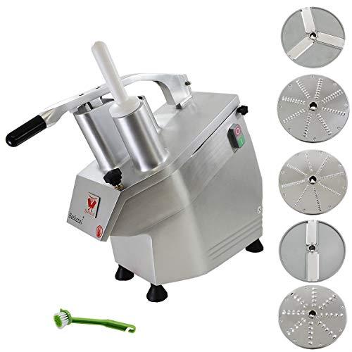 Beeketal 'GS750' Profi Gastro Gemüseschneider elektrisch (ca. 240kg/h Durchsatz), Gemüseschneidemaschine mit 550W Leistung, Getriebe und Motor service- und wartungsfrei, inkl. 5 Messerscheiben