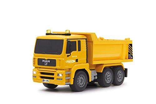 JAMARA 405002 - Muldenkipper MAN 1:20 2,4G - Kippmulde hoch/runter, realistischer Motorsound, Hupe, Rückfahrwarnsound, 4 Radantrieb, gelbe LED Signallichter, programmierbare Funktionen
