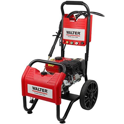 WALTER Benzin Hochdruckreiniger, Terrassenreinger, 250 bar, 7 PS Viertaktmotor, 208 ccm, inkl. 6m Hochdruckschlauch, 4m Ansaugschlauch, 5 Düsen, Vollgummiräder