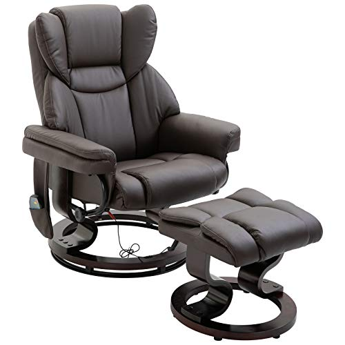 HOMCOM Massagesessel mit Fußhocker Relaxsessel Heizfunktion 145°-Neigung PU Braun 79 x 82 x 101 cm