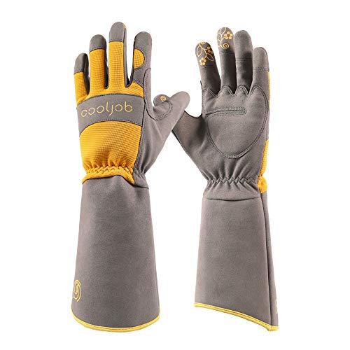 COOLJOB Rose Pruning Dornen Resistent Gartenhandschuhe,lange Ärmel Stichfeste Handschuhe mit Unterarmschutz für Damen, Größe M, Orange & Grau (1 Paar M)