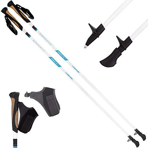SUPERLETIC Nordic FX 10 Essential Nordic Walking Stöcke 10% Carbon, 100 bis 125 cm Länge, für Damen und Herren, ergonomische Korkgriffe, klick-System