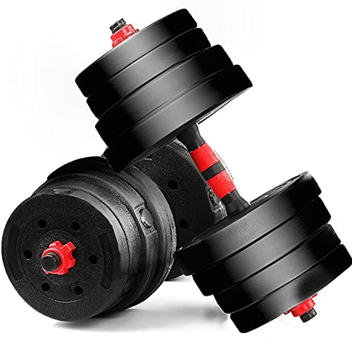VENDOMNIA Hantelset 30 kg, Kurzhantelset 16 Gewichte, 2 Hantelstangen 24mm, aus Kunststoff, gerändelt, Doppelverschlüsse – Kurzhantel, Kurzhanteln 2er Set, Hantel Hantelscheiben für Home Gym Training