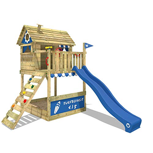 WICKEY Spielturm Klettergerüst Smart Bounty mit blauer Rutsche, Stelzenhaus mit Sandkasten, Kletterleiter & Spiel-Zubehör