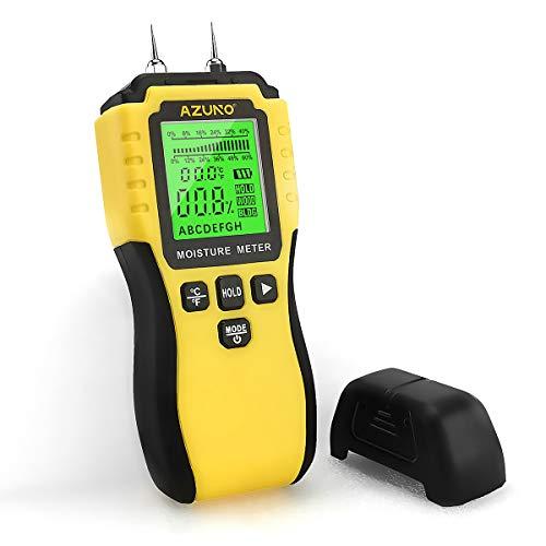 AZUNO Feuchtigkeitsmessgerät, Pin-Typ Holzfeuchtemessgerät mit Batterie und LCD-Display hörbarer Alarm digitale Feuchtemessgerät-Detector für Holz,Wand,Baustoffen,Gipskarton (1st Generation)