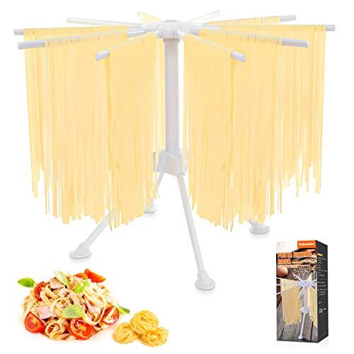 Tobeelec Nudeltrockner, Pastatrockner Nudelstände mit 10 Ausziehbare Sprossen für bis zu 2kg Nudeln Tassen Handtücher, Integrierter Transportierstab,Faltbar-Spaghetti-Trockner, Pasta-Trockner (weiß)
