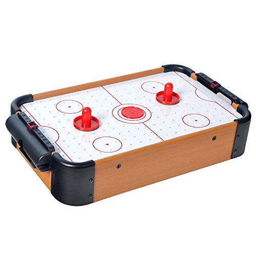 Mini Air Hockey Tisch mit Zubehör Airhockey-Tisch Spielfeld Schiebern Pucks Puscher und Torzähler Tischspiel für Groß und Klein Holz