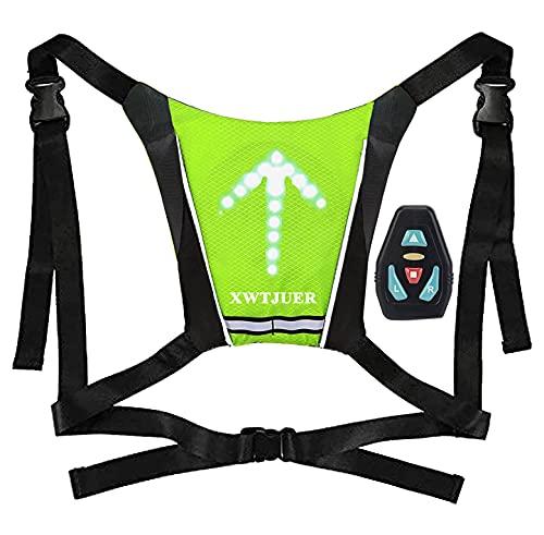 XWT Bike Rucksack mit Blinker 48 LED Fahrrad Blinker Weste USB Wiederaufladbarer Reflektierender Kabelloser Fahrradrucksack mit 5 Einstellbaren Richtungsanzeigern für Nachtfahrradwarnung.