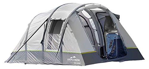 EXPLORER Zelt Luftzelt Alegra Air aufblasbares Familienzelt 420x260x185cm (5,2m²) 4 Personen 3000mm Wassersäule geteilter Wohnbereich Innenzelt wettergeschützter Eingang Camping Outdoor Wandern Familie