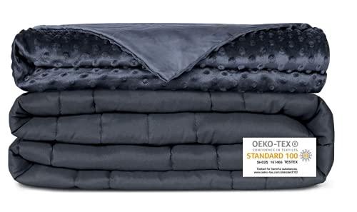 Newentor® Gewichtsdecke 6.8kg mit Abnehmenbarem Bezug Therapiedecke für Erwachsene Schwere Decke für Stressabbau Beschwerte Decke gegen Angst Schlafstörung, Grau 152 x 203cm