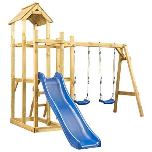 vidaXL Kiefernholz Imprägniert Spielturm mit Rutsche Schaukel Leiter Spielhaus Kletterturm Klettergerüst Kinder Garten 285x305x226,5cm