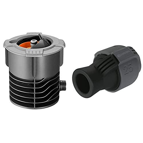 Gardena Pipeline Wassersteckdose: Oberirdische Wasserentnahmestelle für die Pipeline,¾ Zoll Außengewinde & Sprinklersystem Verbinder: Verbindungsstück für Rohranschluss, 25 mm x 3/4 Zoll-Innenewinde