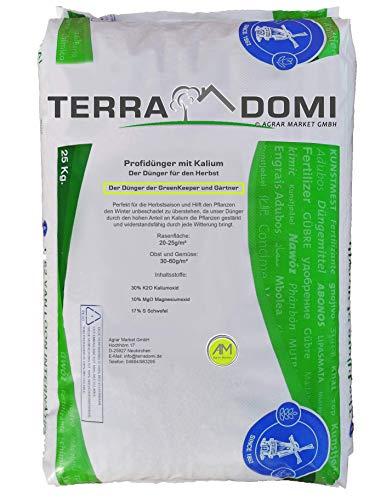 Terra Domi 25 kg Patentkali Herbstdünger für über 1000m² I langzeit Rasendünger für die optimale Wurzelstärkung I Kaliumdünger für Starke Wurzeln und ausgiebige Widerstandsfähigkeit