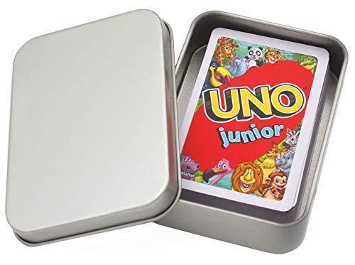 UNO Junior Kartenspiel Neue Edition für Kinder, Kinderspiele geeignet für 2 - 4 Spieler ab 3 Jahren + Metalldose für Spielesammlung