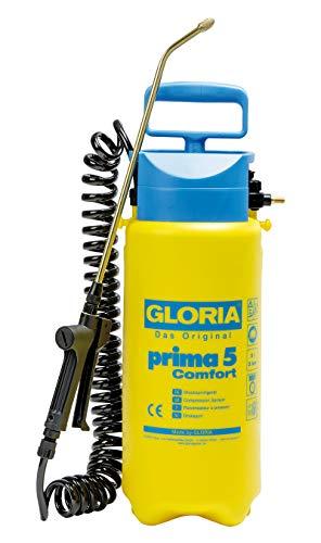 GLORIA Drucksprüher prima 5 Comfort | Gartenspritze | 5 L Füllinhalt | Komfortable Ausstattung | 2,5 m Spiralschlauch | Kompressoranschluss