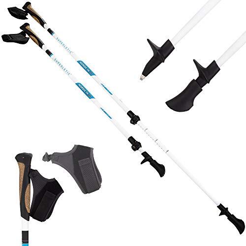 SUPERLETIC Nordic TX 10 Essential Nordic Walking Stöcke, 10% Carbon, verstellbar mit Teleskop (100-130 cm), Korkgriffe mit klick-System