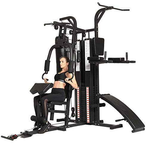 Dione HG5 - Fitnessstation - Multi-Gym - Krafstation mit Boxsack - Einschließlich 65 kg Gewichte - Erweiterbar auf 100 kg - Homegym