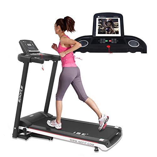 ISE Laufband Elektrisches Klappbar Lauftraining Fitnessgerät 12,8 km/h mit 12 Programmen und LED-Anzeige mit Transporträdern, max. 120 kg