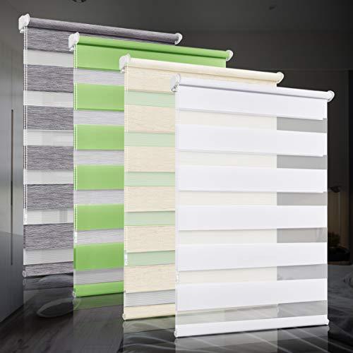 bobodeco Doppelrollo klemmfix ohne Bohren Duo Rollos für Fenster mit Klemmträger, Fensterrollo lichtdurchlässig & verdunkelnd Wandmontage Sichtschutz- Weiß,40x130cm (BxH)