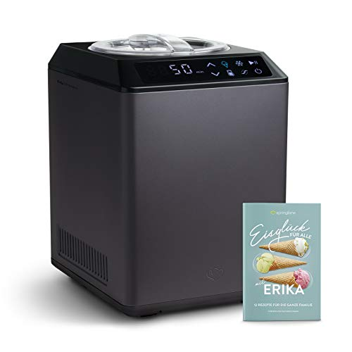 Eismaschine & Joghurtbereiter Erika 2,5 L mit selbstkühlendem Kompressor 250 W, aus Edelstahl mit Kühl- und Heizfunktion, inkl. Rezeptheft
