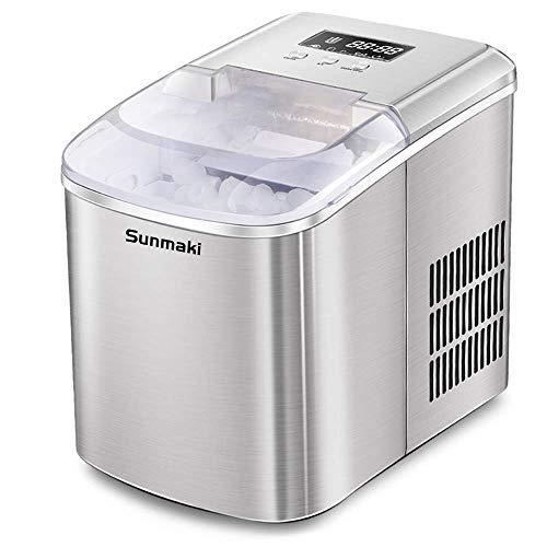 Sunmaki eismaschine eiswürfelmaschine, 12kg eiswürfel 24h, eiswürfelbereiter Edelstahl, 2.1L Wassertank, ice maker 120W, Produziere 9 Eiswürfel, Zubereitung in 8 min, LCD-Anzeige