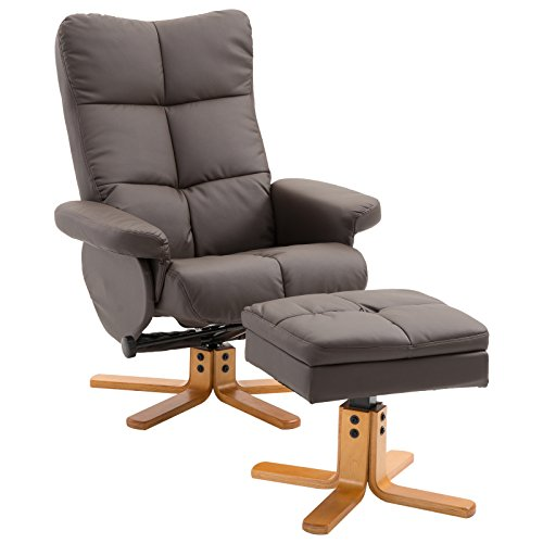 HOMCOM Relaxsessel Fernsehsessel 360° drehbarer Sessel mit Hocker Liegefunktion Holzgestell Braun 80 x 86 x 99cm