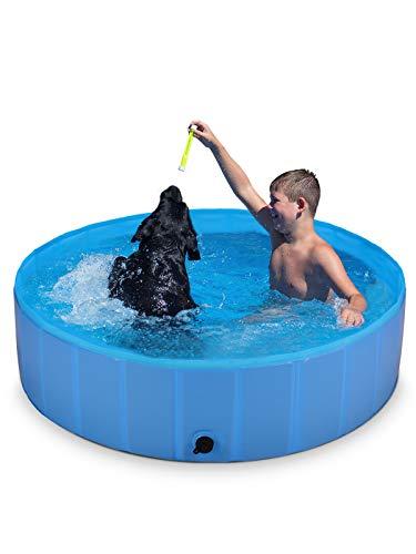 ShinePick Hundepool, Swimmingpool Hund Planschbecken Faltbarer Haustierpool, rutschfeste Verschleißfest PVC Schwimmbad Perfekt für Hunde Katzen und Kinder (120 * 30cm)