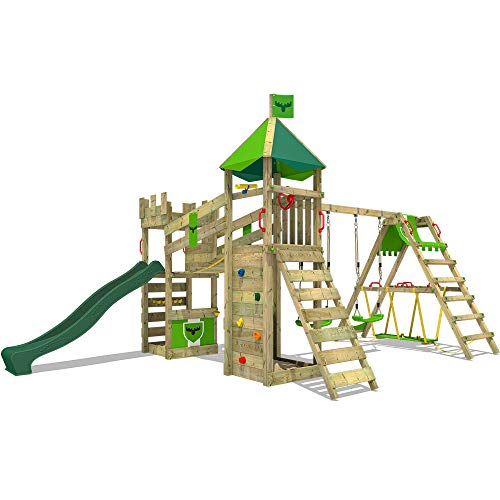 FATMOOSE Spielturm Klettergerüst RiverRun Royal XXL mit Schaukel, Surfanbau & grüner Rutsche, Garten-Spielgerät mit Sandkasten, Kletterwand & viel Spiel-Zubehör