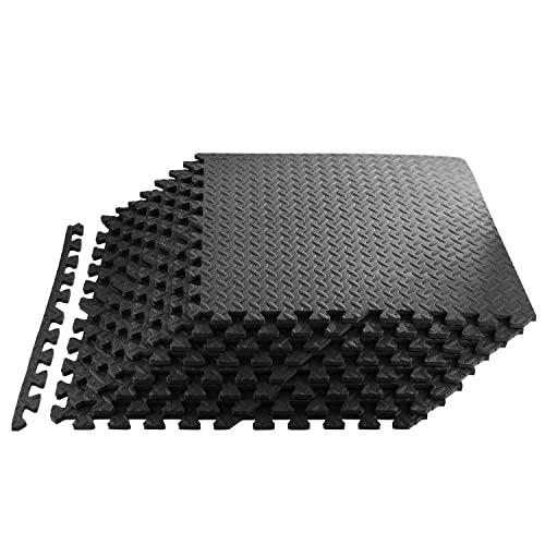 Bodenschutzmatte 60 x 60cm Schutzmatte Trainingsmatte Puzzlematte | Poolmatte | Unterlegmatten | Fitnessmatten für Bodenschut für Bodenschutz, Büro, Fitnessraum (Schwarz-48)