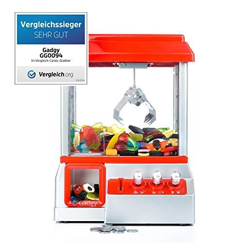 Gadgy ® Candy Grabber mit Stummschaltungstaste   Süßigkeiten Automat für Zuhause   Greifmaschine   Mini Jahrmarkt Spielautomat
