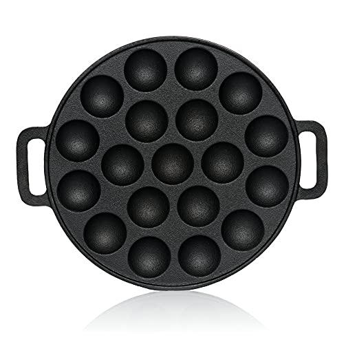 BBQ-Toro Gusseisen Poffertjes Pfanne | Förtchenpfanne für 19 Förtchen | Ø 24 x (H) 1,7 cm | preseasoned - bereits eingebrannt | Poffertjespfanne, Takoyaki Pfanne, Ochsenaugen Pfanne