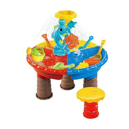 Dainzuy Kinder Spieltisch Sand and Water Sand & Wasser Spieltisch Spielzeug Sandspieltisch Wasserspieltisch Buddeltisch Zubehör 2IN1inkl.Kinder Sandspielzeug