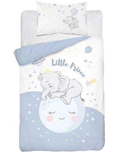 Kinder Bettwäsche Bettbezug 2 Tlg. Set 100x135 cm +1 kissenbezug 50/50% Bambusfaser/Baumwolle- Elefant Blau Weiß- 3271A Öko-Tex
