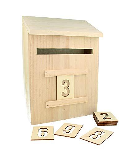 Artemio 14002293 Adventskalender zum Dekorieren Briefkasten Holz 20 x 9,5 x 28 cm