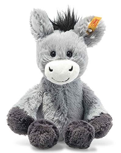 Steiff 073922 Original Plüschtier Dinkie Esel, Soft Cuddly Friends Kuscheltier ca. 20 cm, Markenplüsch mit Knopf im Ohr, Schmusefreund für Babys von Geburt an, graublau