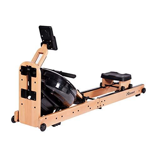 Reehut Faltbares Rudergerät für Zuhause, Wasser Rudergerät Waterrower mit Bluetooth, Kostenloser App und LCD - Bildschirm, Holz Klappbares Rudergerät mit 18L Wassertank Rowing Machine