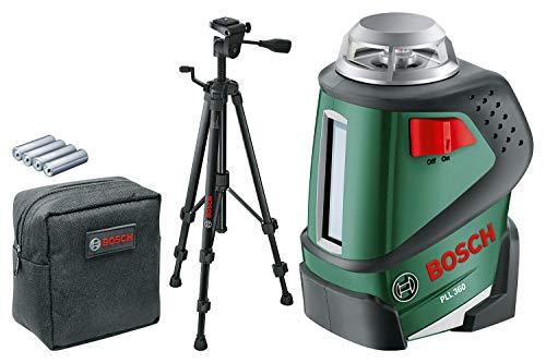 Bosch Linienlaser PLL 360 Set mit Stativ (Arbeitsbereich: 20 m, Genauigkeit: ± 0,4 mm/m, in Schutztasche)