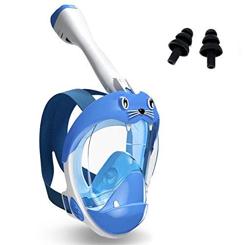 Buluri Tauchmaske Schnorchelmaske Vollgesichtsmaske für Kinder, Schnorchelmaske mit trockenem Top Schnorchel Set 180 ° weites Sichtfeld, freie Atmung, niedliches Design für Kinder