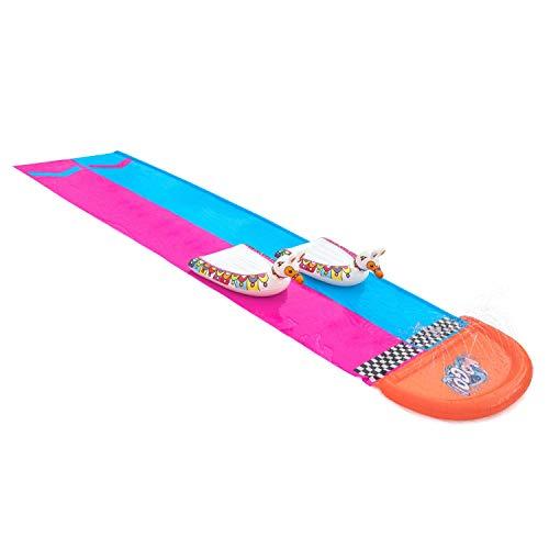 Bestway 52320 H2OGO 2er-Wasserrutsche mit aufblasbaren Lama-Schwimmtieren 487 cm, color
